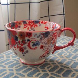 """Anthropologie """"C"""" Floral Teacup Mug"""
